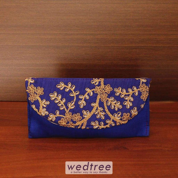 Raw Silk Clutch With Embroidery Work - W4545 Clutches & Purses