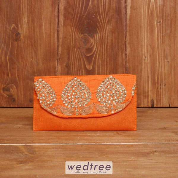 Raw Silk Clutch With Golden Thread Embroidery - W3920 Clutches & Purses