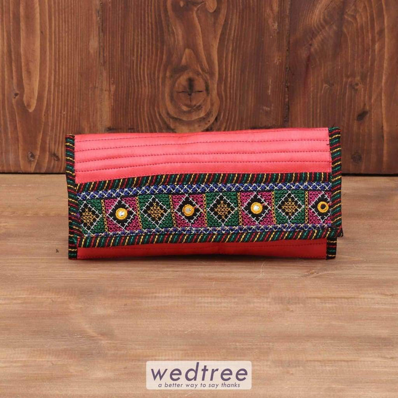 Raw Silk Clutch With Thread Embroidery - W3768 Clutches & Purses