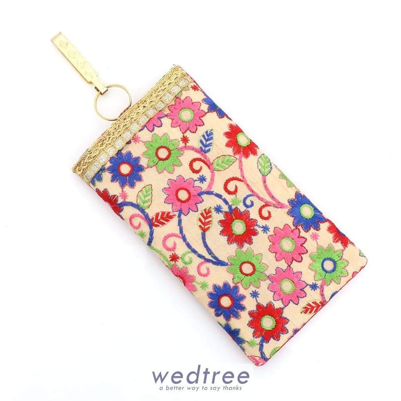 Raw Silk Mobile Pouch With Flower Embriodery Pouches