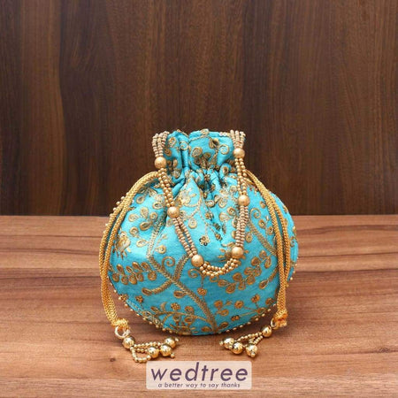 Raw Silk Potli Bag With Rich Embroidery Work - W3542 Bags