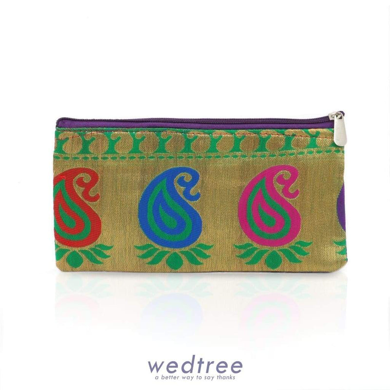 Raw Silk Purse Mixed Design Clutches & Purses