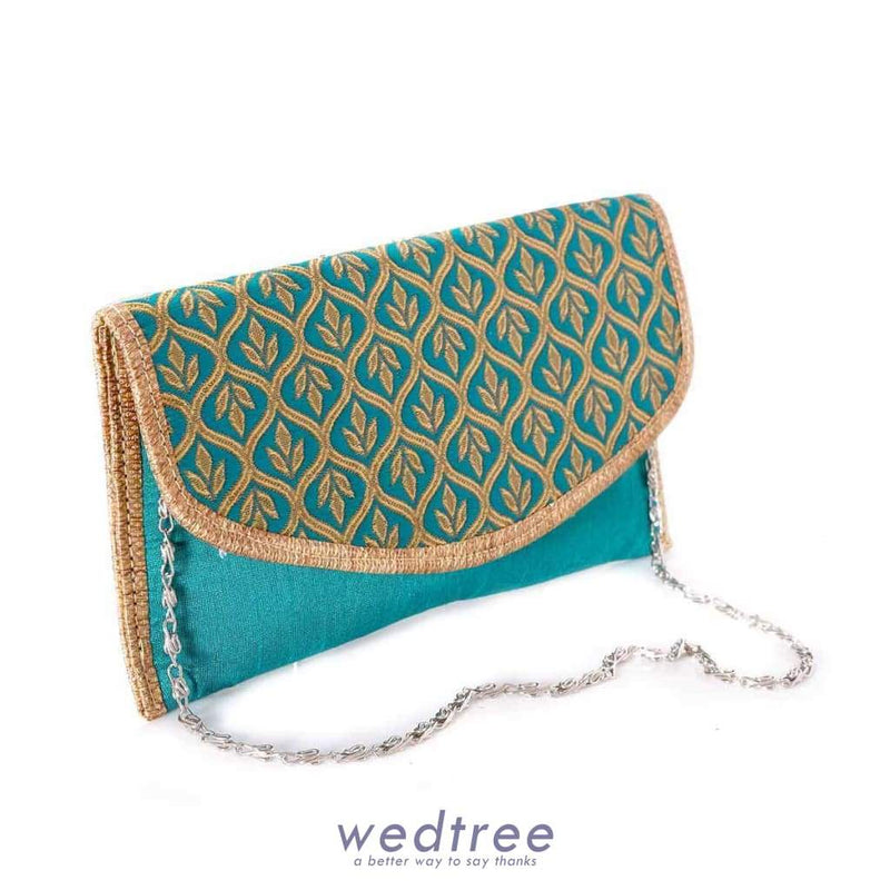 Raw Silk Purse With Golden Thread Embroidery Clutches & Purses