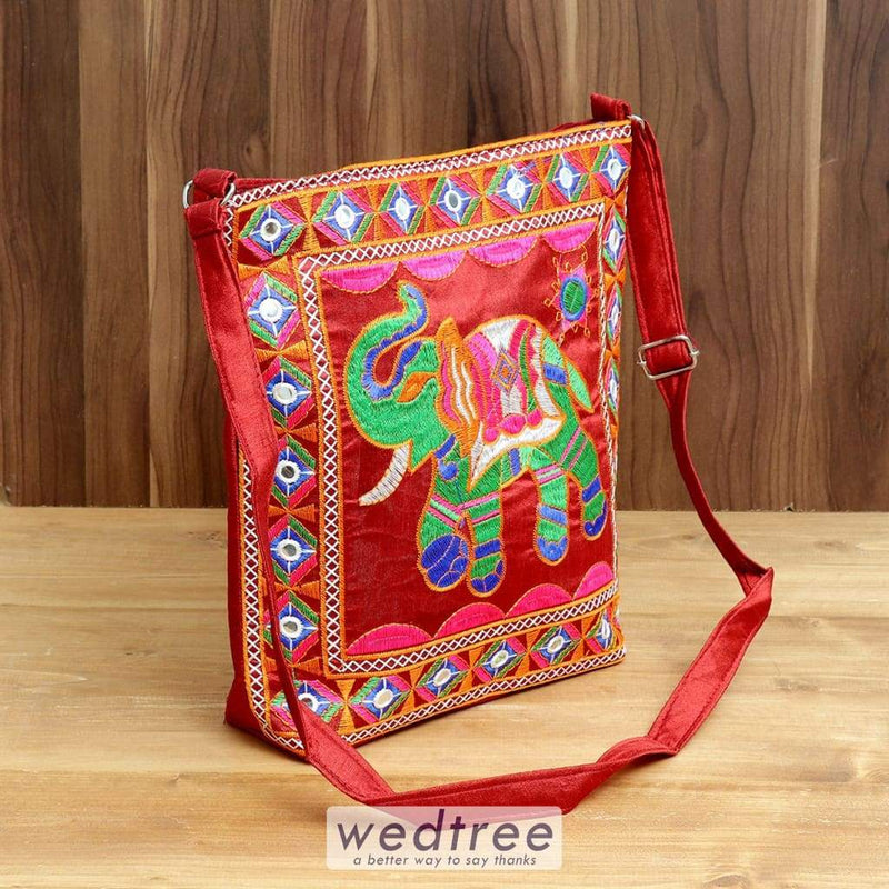 Shoulder Bag With Elephant Embroidery And Back Zip - W4394 Bags