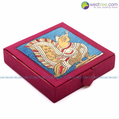 Silk and kalamkari 4 square box - WDG0014