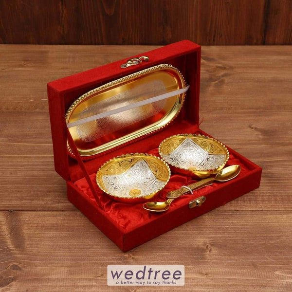 Silver & Gold Plated Bowl Set Of 2 With Plate - W3712 Utility Return Gifts