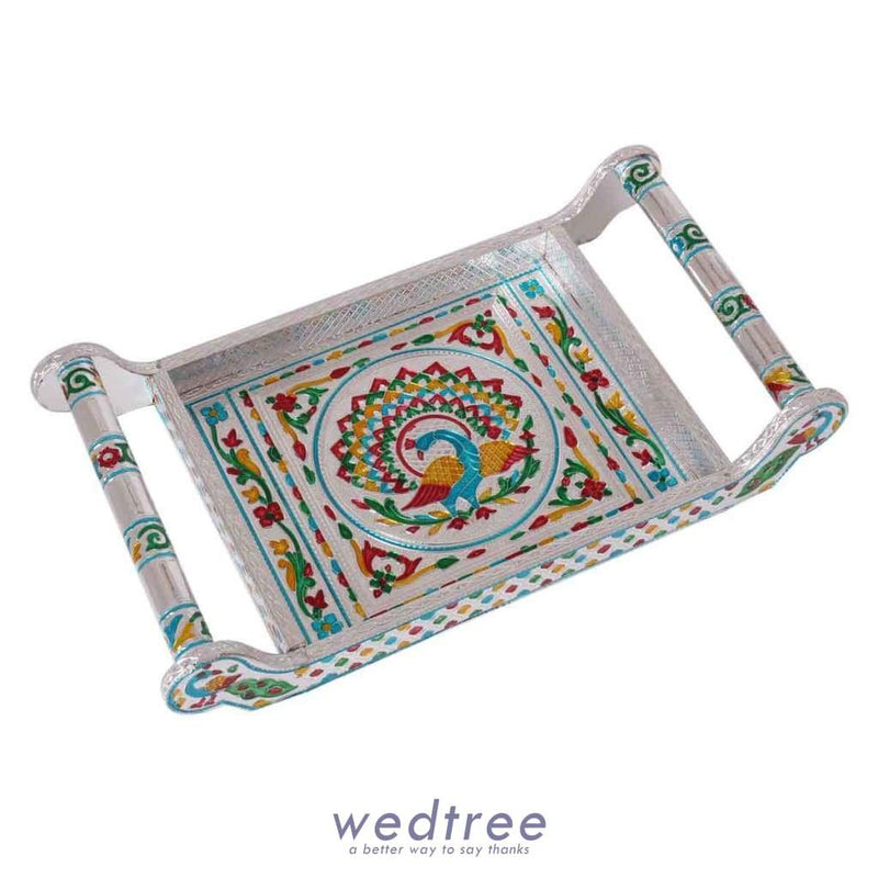 Silver Minakari 6 Glass Tray With Peacock Design Trays & Plates