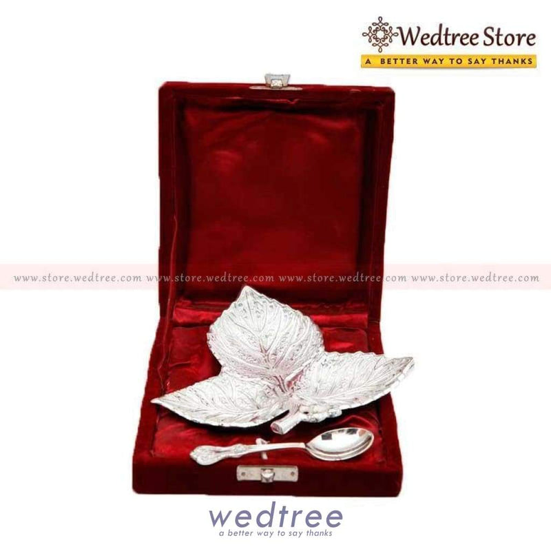 Silver Plated Leaf Bowl Home Decors
