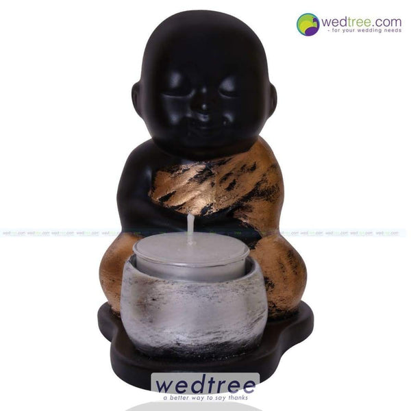 Sitting Baby Buddha With Candle Diyas & Holders