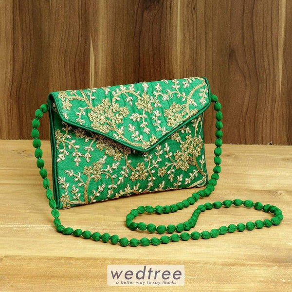 Sling Bag Full Zari Embroidery - W4378 Bags