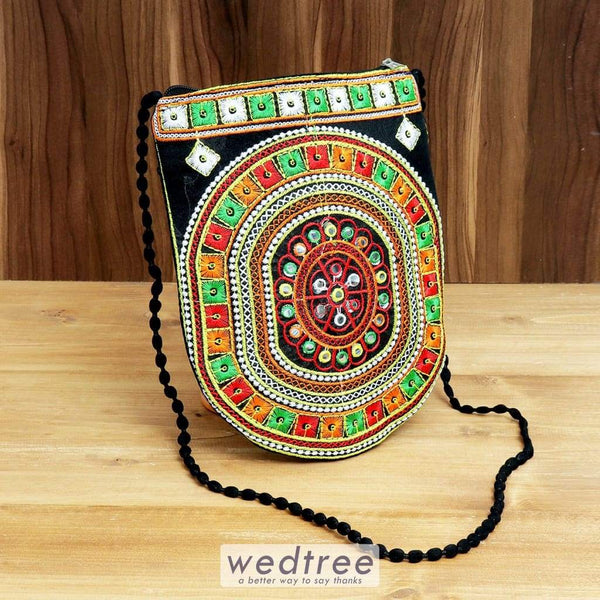 Sling Bag U Shape Embroidery With Back Zip - W4379 Bags