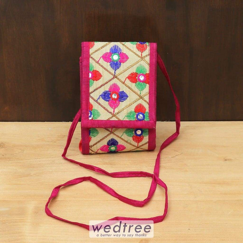 Sling Bag With Embroidery And Mirror Work - W4447 Bags