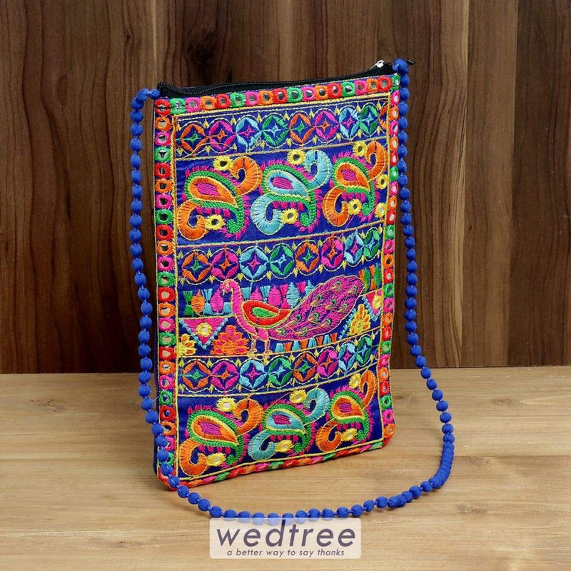 Sling Bag With Peacock Thread Embroidery And Mirror Work - W4375 Bags