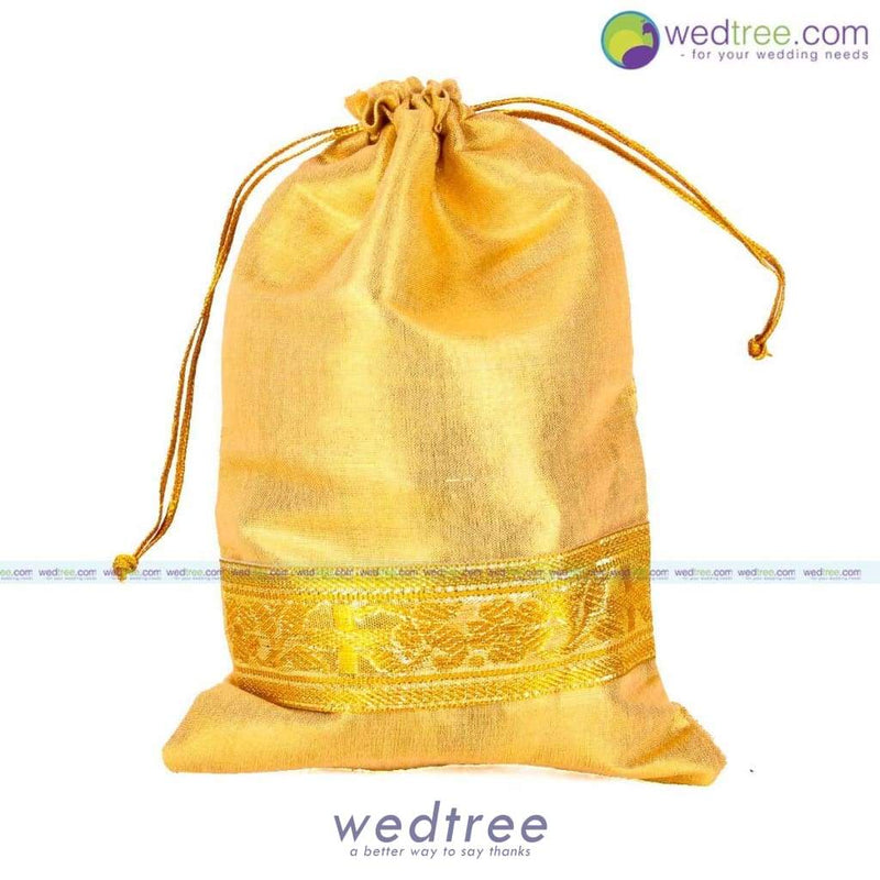 String Bag - Gold Satin With Zari Border Large Potli Bags