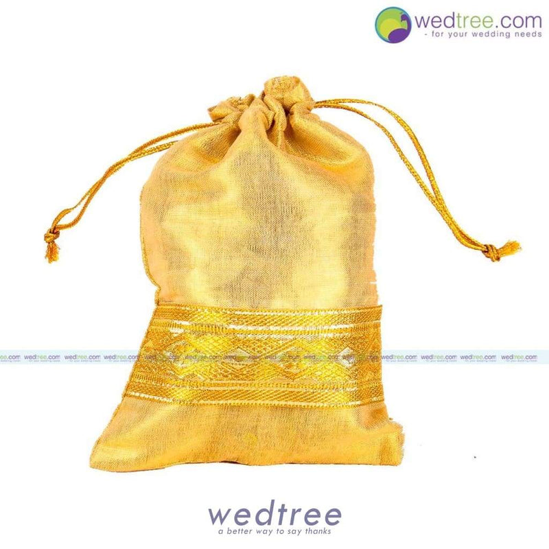 String Bag - Gold Satin With Zari Border Medium Potli Bags