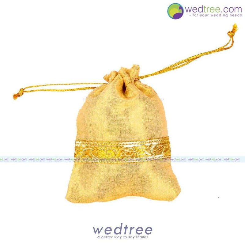 String Bag - Gold Satin With Zari Border Small Potli Bags