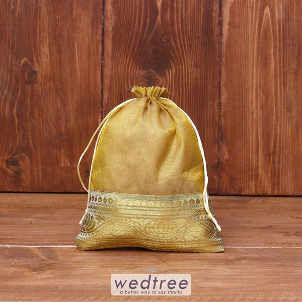 String Bag Golden Tissue With Zari Lace - W3950 Potli Bags