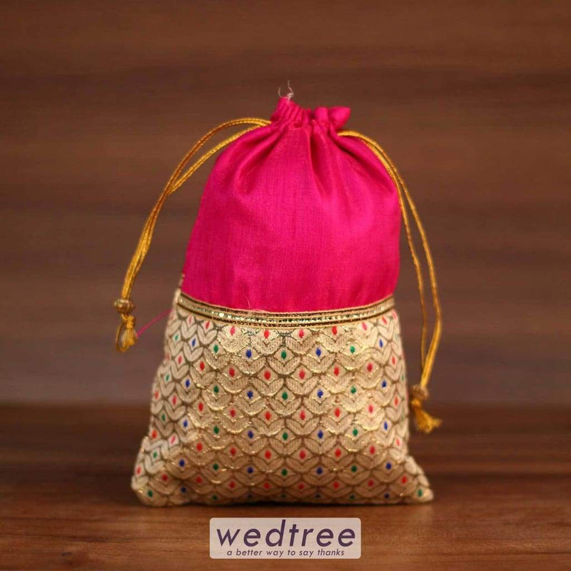 String Bag - Raw Silk With Golden Flower Design 5.5X8.5 Potli Bags