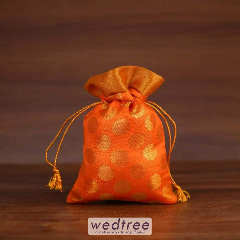 String Bag Raw Silk With Golden Zari Dots Potli Bags