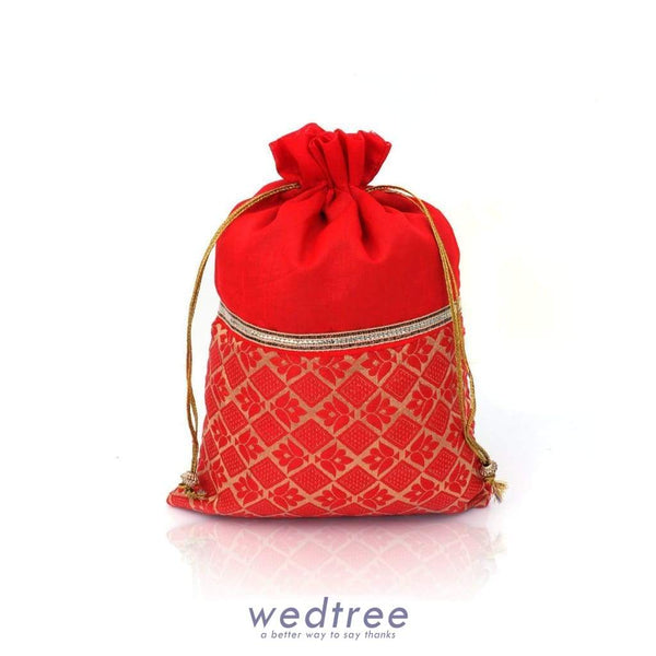 String Bag - Raw Silk With Lace And Floral Design Medium Potli Bags