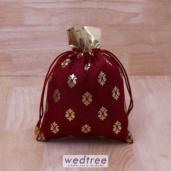 String Bag Satin With Brocade Prints - W4088 Potli Bags