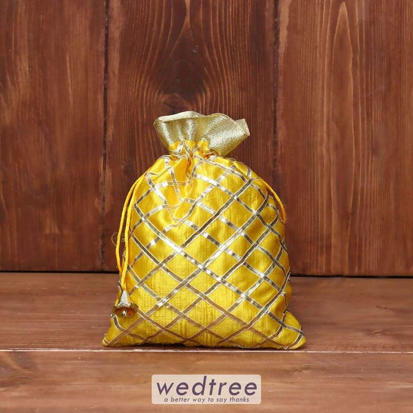 String Bag Satin With Golden Stripes - W3951 Potli Bags