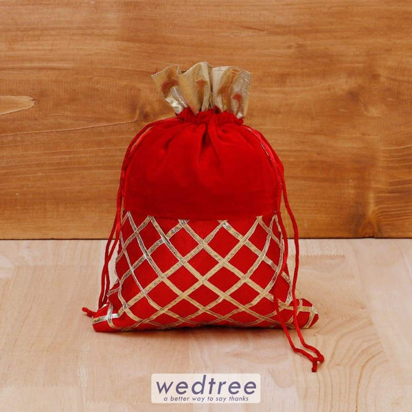 String Bag Velvet With Golden Stripes - W4085 Potli Bags