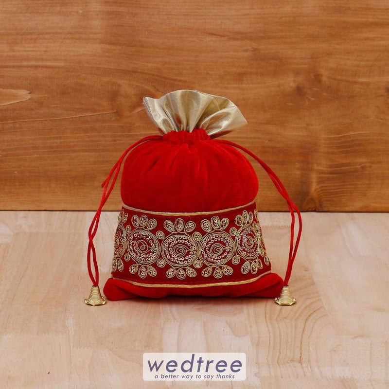String Bag Velvet With Golden Thread Embroidery - W4081 Potli Bags