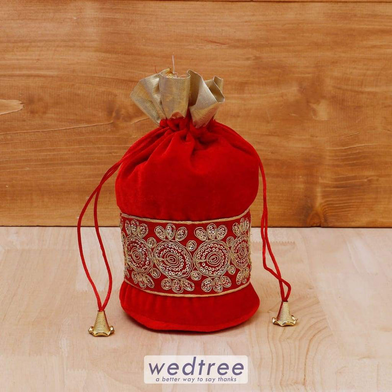 Potli Bag Velvet With Golden Thread Embroidery - W4082 Bags