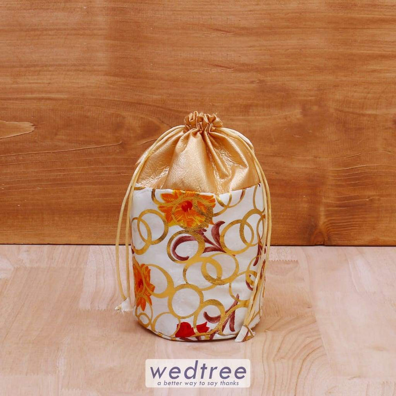 Potli Bag With Golden Circle Prints - W4077 Bags