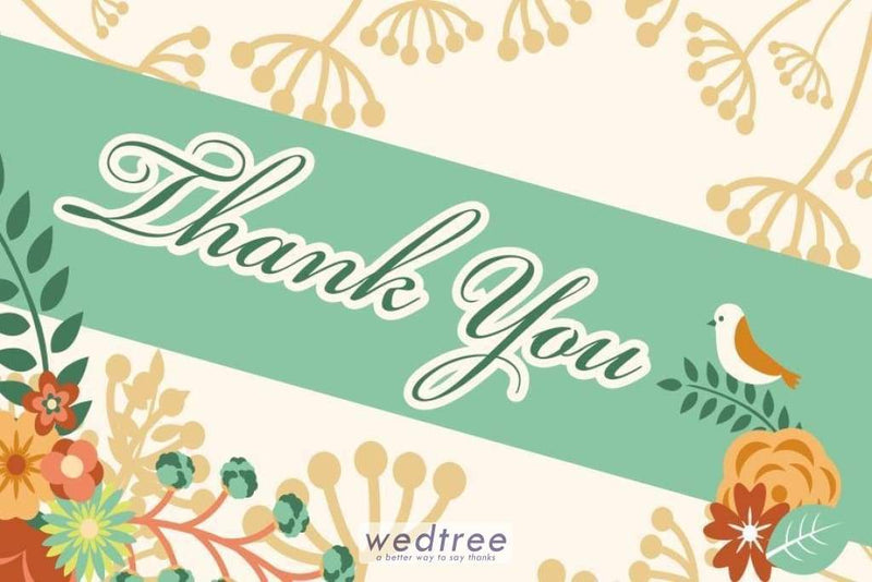Thank You Card - Bird & Floral Design