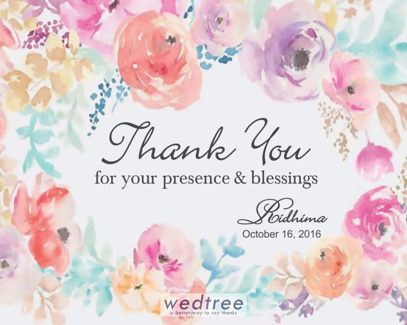 Thank You Card - Floral Painting Design