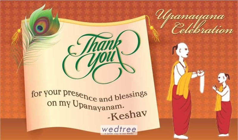 Thank You Card - Upanayanam Peacock Feather Design
