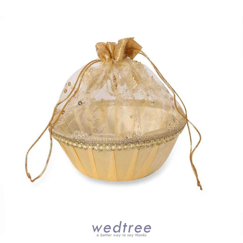 Tissue Bag With Round Base With Golden Sequins Bags