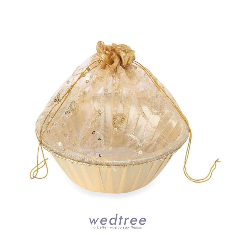 Tissue Bag With Round Base With Golden Sequins Big Bags