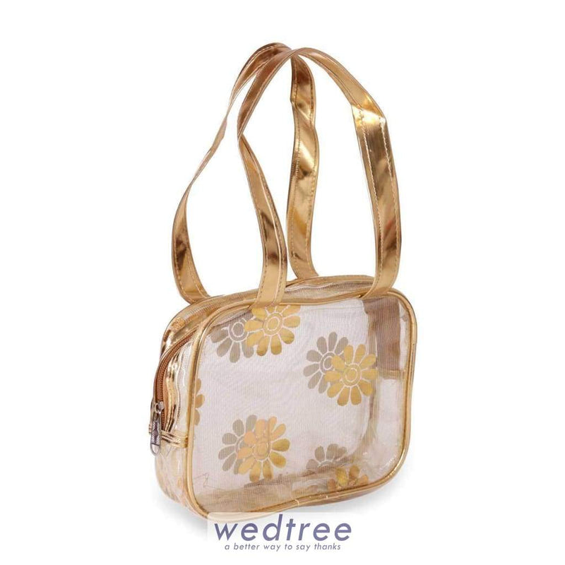 Travel Kit Transparent Golden Flower Design Kits