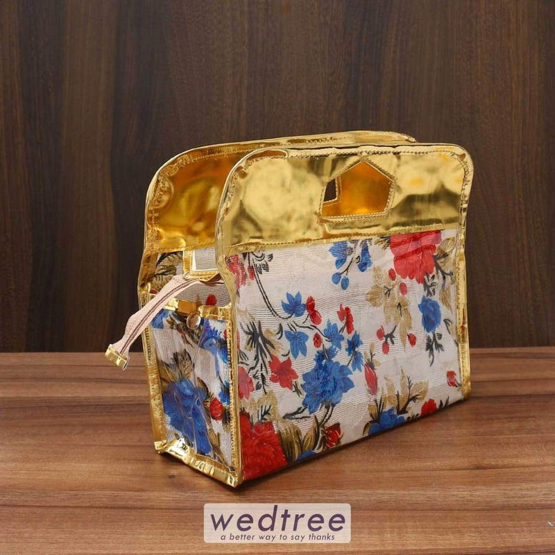 Vanity Pouch Floral Design With Handle 11 X 9 Inch Travel Kits
