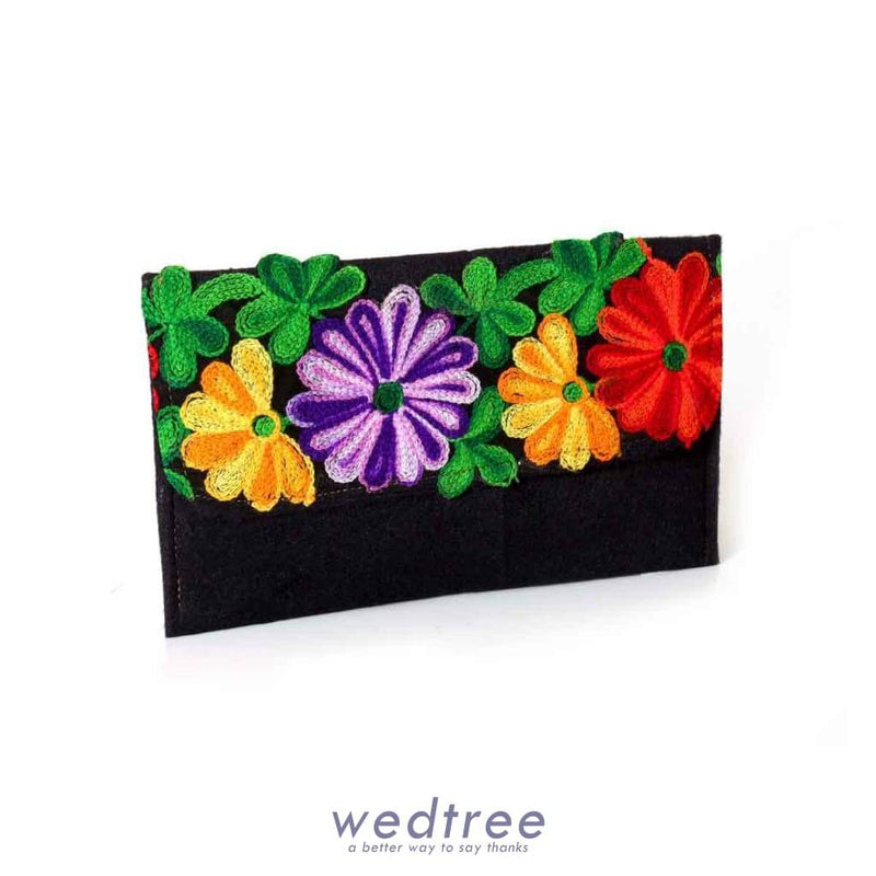Velvet Purse With Colourful Flower Thread Embroidery Clutches & Purses