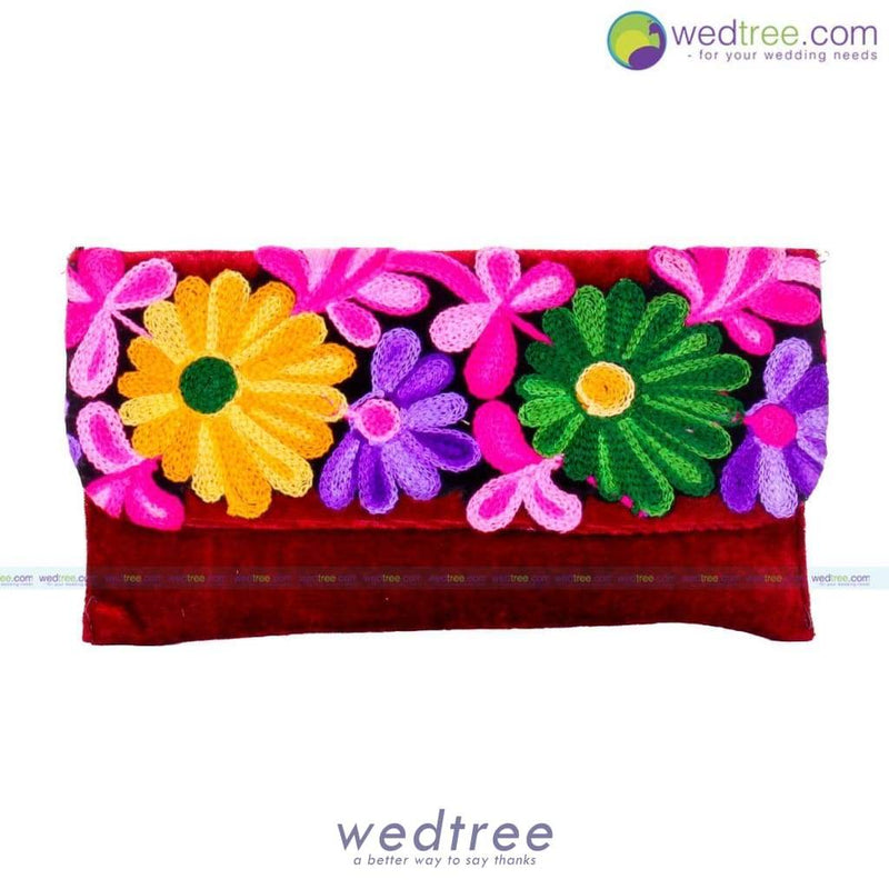 Velvette Purse - Flower Embroidery Clutches & Purses