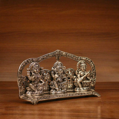 White metal Oxidised Lakshmi, Ganesha, Saraswati with frame W3236 at $11.37 by Wedtree
