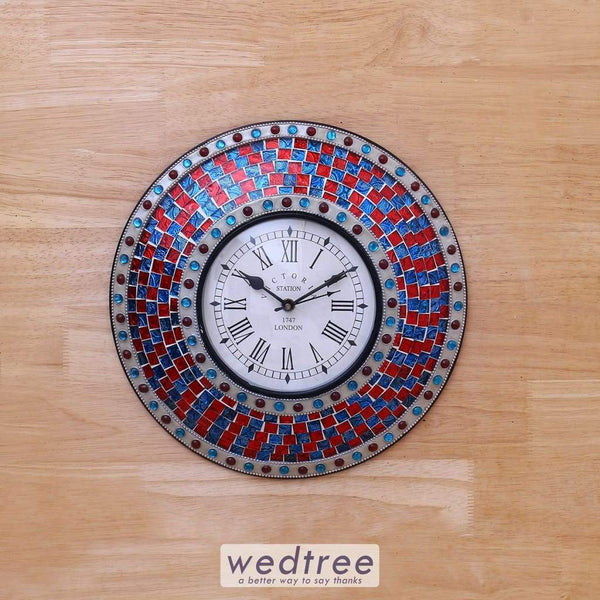Wall Clock With Stained Glass Work - W4073 Utility Return Gifts