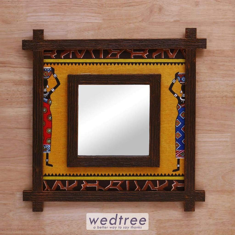 Wall Hanging Mirror With Wooden Frame & Jute Art - W4147 Home Decors