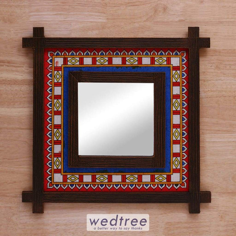 Wall Hanging Mirror With Wooden Frame & Jute Art - W4154 Home Decors