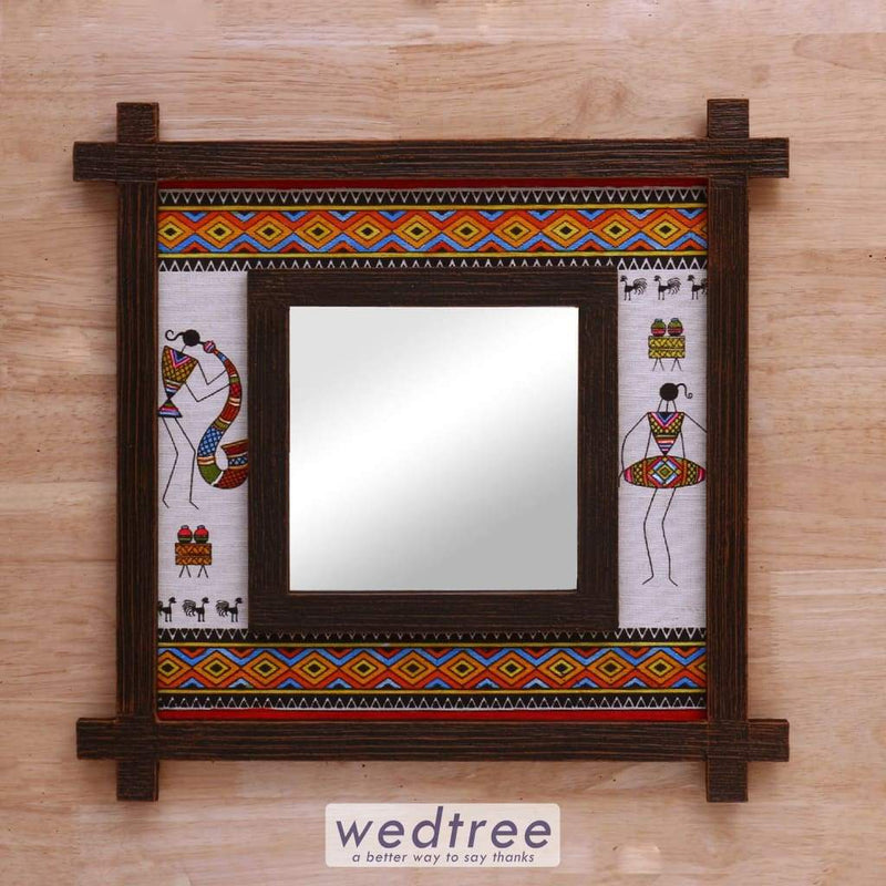 Wall Hanging Mirror With Wooden Frame & Jute Art Warli - W4152 Home Decors