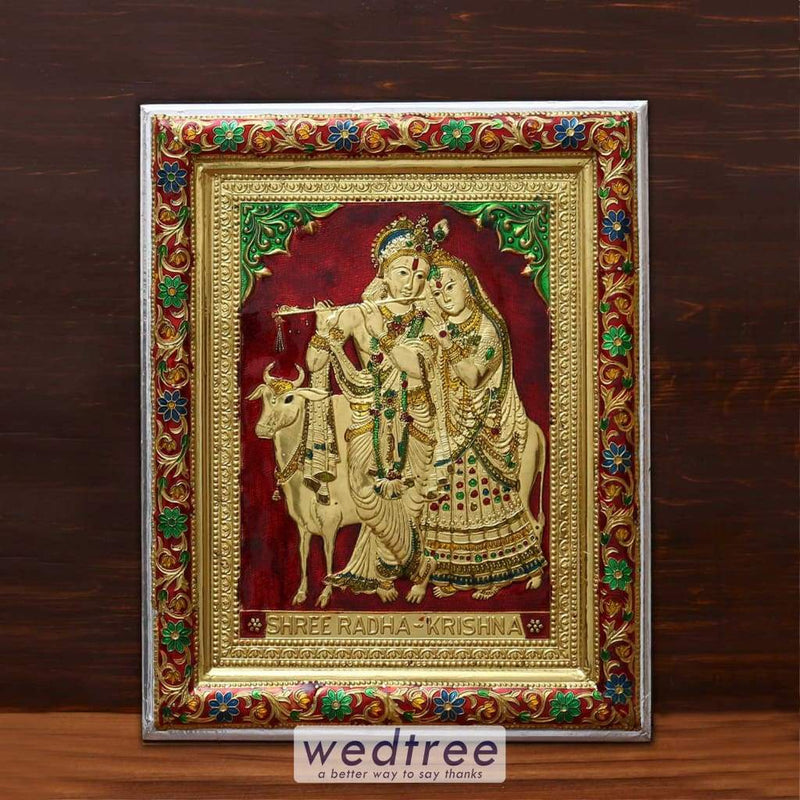 Wall Hanging - Radha Krishna With Minakari Design 16 Inch Home Decors