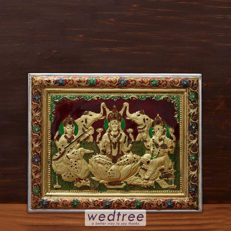 Wall Hanging - Saraswathi Lakshmi And Ganesha With Minakari Design Home Decors