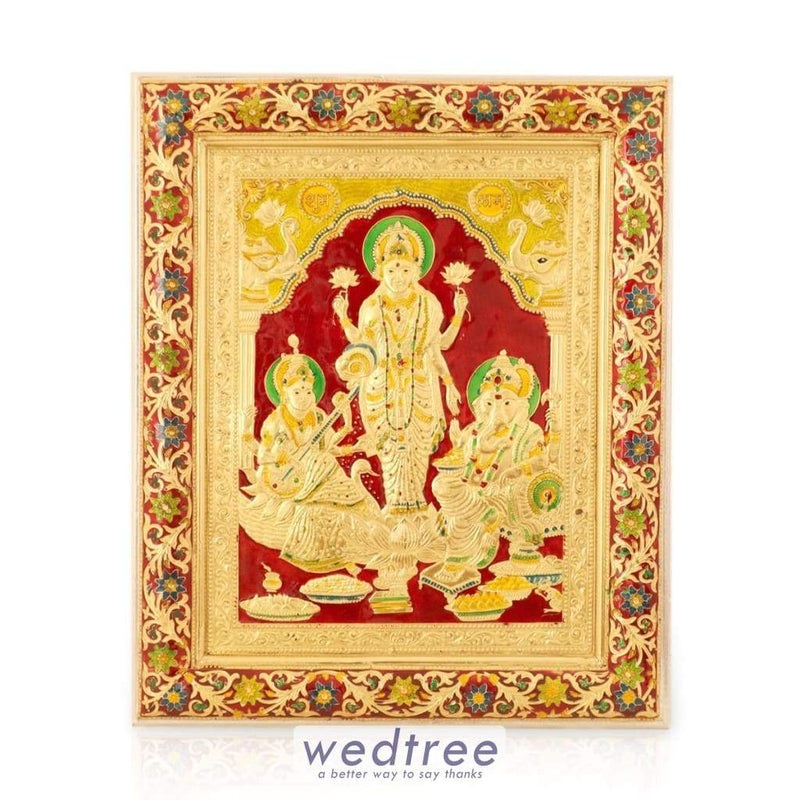 Wall Hanging- Saraswathi Lakshmi And Ganesha With Minakari Design Home Decors