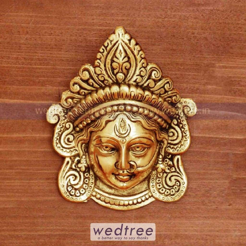 White Metal Amman Face With Gold Finish - W4374 Home Decors