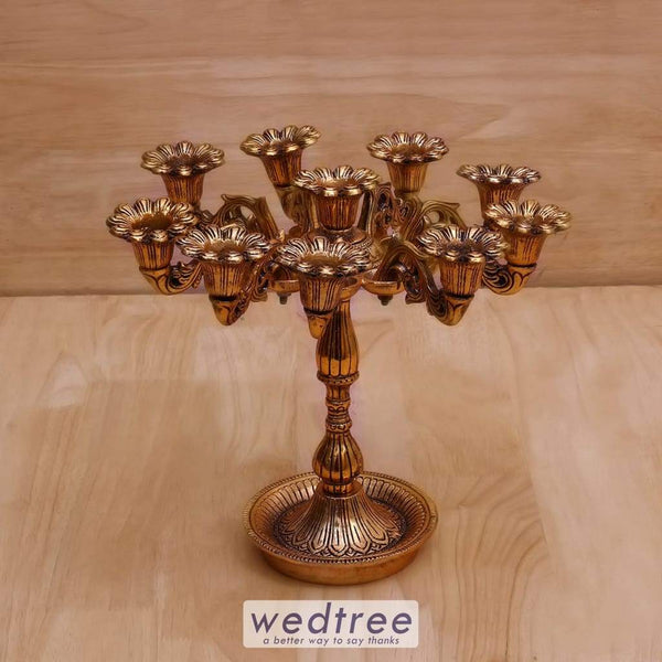 White Metal Candle Stand Big - W4049 Diyas & Holders