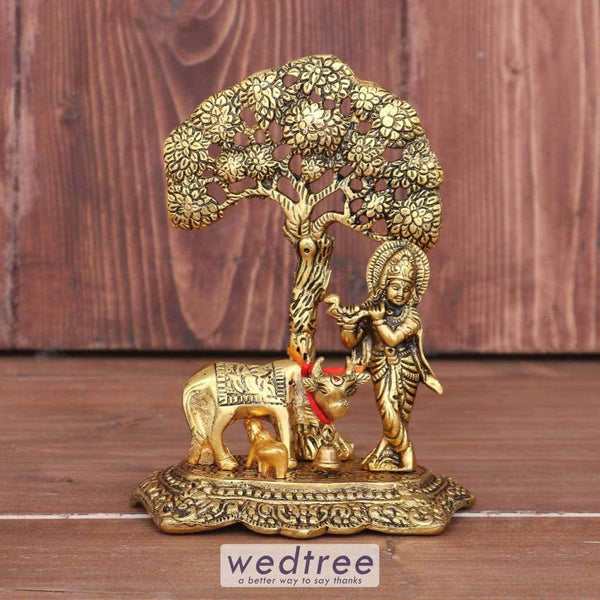 White Metal Cow Krishna Under Tree Gold Finish - W3673 Home Decors